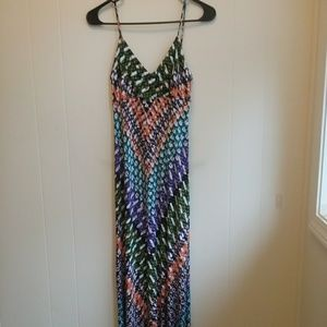 CALVIN KLEIN BOHO STRETCH JERSEY MAXI DRESS.  SZ 2